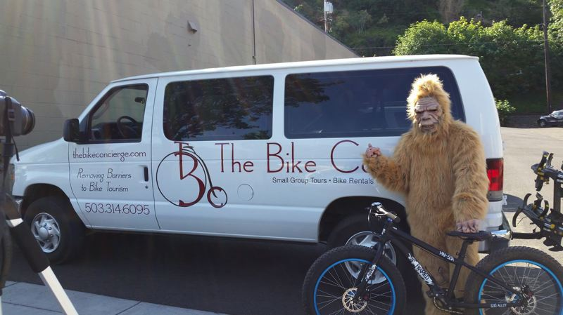 SUBMITTED PHOTO - Bigfoot came out from hiding and did local tourist things like take a wine tour with the Bike Concierge in Mt. Hood Territory's tourism campaign.