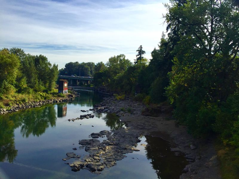 PHOTO BY BEVERLY WONG - View of High Rocks City Park from the bridge crossing the Clackamas River.