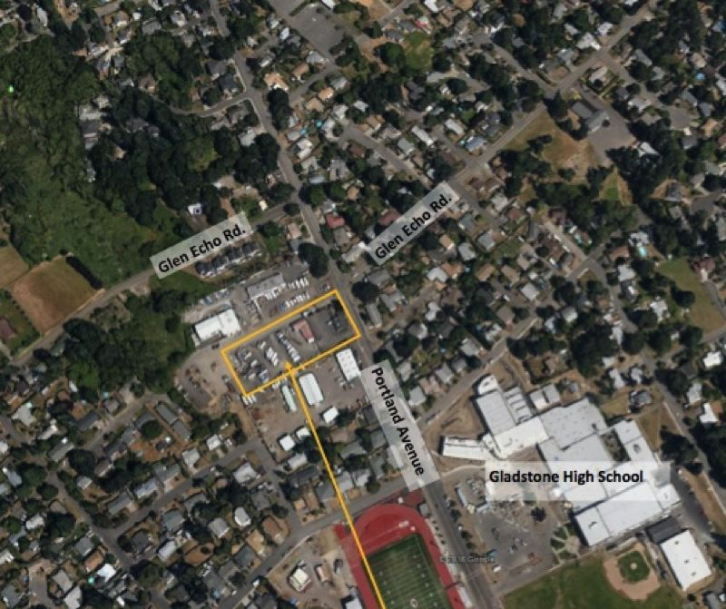 GOOGLE MAPS - Gladstone's planned property purchase includes Portland Avenue frontage, multiple commercial/retail tenants and a back lot used for RV/trailer storage.