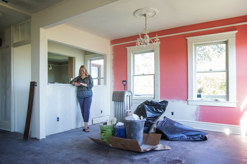 PORTLAND TRIBUNE: JONATHAN HOUSE - Sheryl Alstrin takes a brief break from the extensive renovation  project that is nearing completion at her Southwest Portland home.