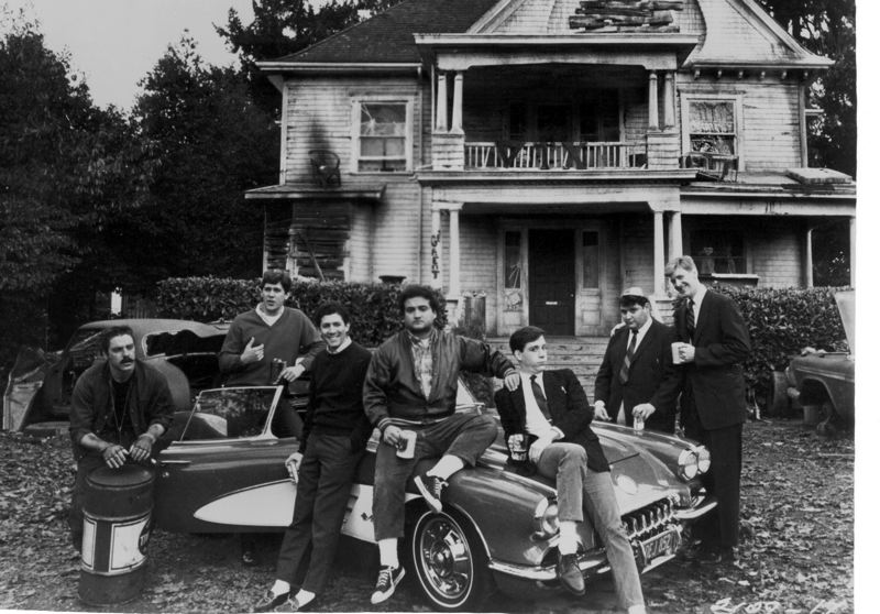 COURTESY: KATHERINE WILSON - The members of the Delta Tau Chi fraternity in the movie 'Animal House,' which itself is the subject of a new documentary, 'Animal House of Blues 33 1/3,' by Katherine Wilson. The film's relationship to Oregon is explored in the new documentary. That's the late John Belushi in the middle, fourth from left.