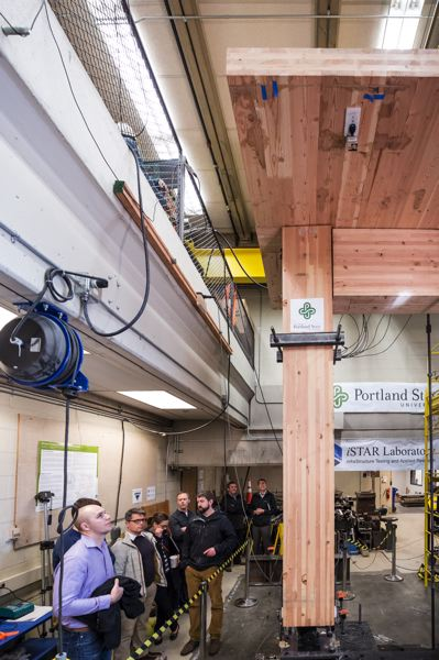TRIBUNE PHOTO: JON HOUSE   Peter Dusicka And His Associates At The PSU  Infrastructure Testing And Applied Research Laboratory Test A Section Of A  Mass ...