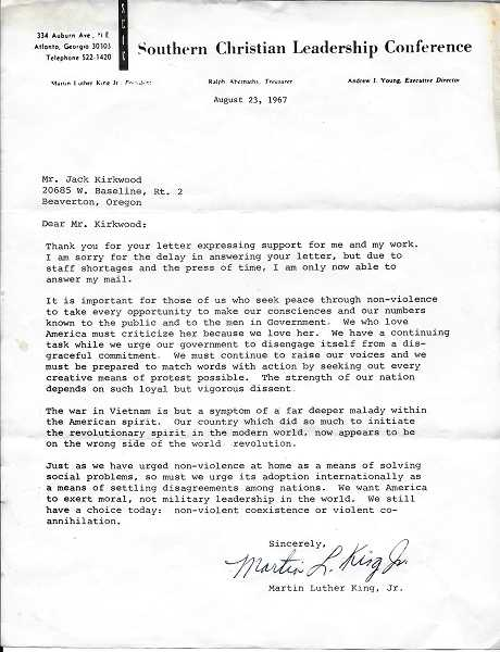 COURTESY KIRKWOOD FAMILY - Former Hillsboro school teacher Jack Kirkwood received this letter from Martin Luther King, Jr. in 1967 after writing to King about his opposition to the Vietnam War