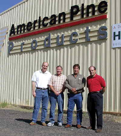 by: CENTRAL OREGONIAN - The news came out in July that American Prine Products was being sold to Woodgrain Millwork. In the photo above, (left to right) Kelly Dame of Woodgrain Millwork, Mike Ball of Woodgrain, Steve Forrester of American Pine and Nick Varsam of Hutting Building Products are shown.