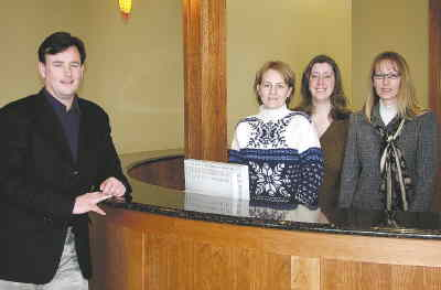 by: LORI KIIMBEL/CENTRAL OREGONIAN - The new Hanes Building is open for business. Shown from left to right are Coby Hanes, Amber Russell, Kelli Baumer and Holly Hanes, who are part of Hanes Chiropractic Clinic.
