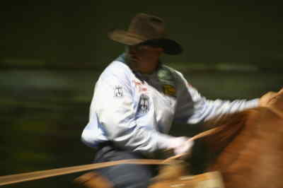 by: ANDREW MATHESON/CENTRAL OREGONIAN - Charly Crawford, an accomplished team roper, is providing advice to fellow cowboy, Bobby Mote, on the ins and outs of team roping.