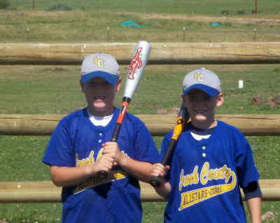 by: contributed photo - Kahl Malott, left, and Sam Walker were chosen to compete on the Oregon Select Baseball team down at the California Competitive Youth Baseball World Series in Anaheim from August 5-12.