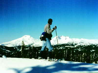 by: SCOTT STAATS/CENTRAL OREGONIAN - The author pauses on a snowshoeing trip near the Three Sisters.