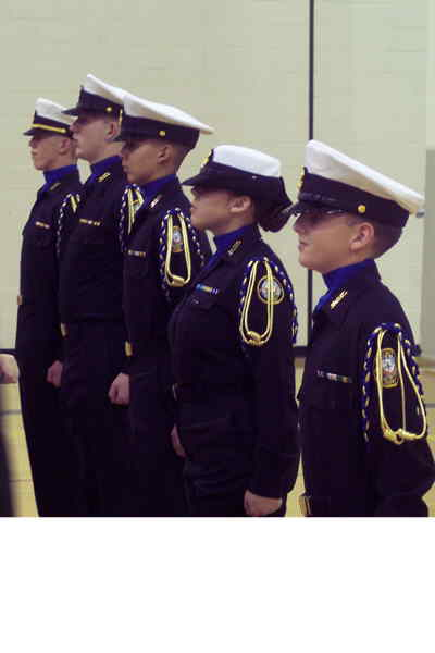 by: Photos courtesy of Terri Fields - Members of the Crook County High School NJROTC Drill Team  perform  at the Northwest Drill and Rifle Meet in Yakima, Wash. In the photo above, cadets are inspected during the unarmed inspection.