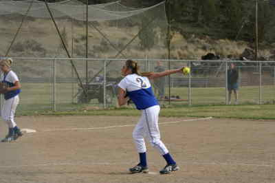 by: ANNEMARIE KNEPPER/CENTRAL OREGONIAN - Bre Crakes allowed two hits and struck out eight batters in the second game of the Crook County -Mazama doubleheader on Friday.