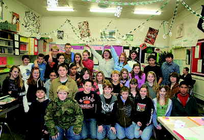 by: PHOTO COURTESY OF KAREN JOHNSON - Students from Crook County Middle School teachers Cathy Brock's and Tina Dunaway's classes were among those collecting funds to help out the Humane Society of the Ochocos.