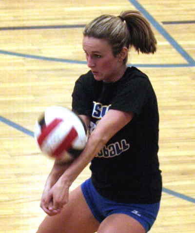 by: LON AUSTIN/CENTRAL OREGONIAN - Kimber Duncan, a defensive specialist for Angelo State University, played for an alumni team on Saturday.