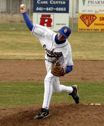 by: LON AUSTIN/CENTRAL OREGONIAN - Parker Wooldridge pitched four innings of no hit ball on Thursday against LaPine