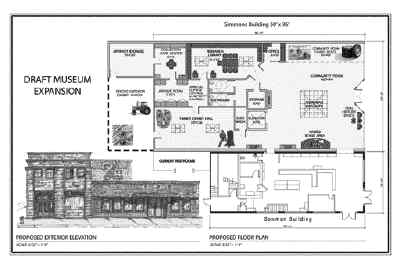 by: PLAN COURTESY OF CROOK COUNTY HISTORICAL SOCIETY - A draft of the A.R. Bowman Museum expension shows what is planned for the expanded museum.  The new building will add 4,800 more square feet to the museum, as well as new exhibits.