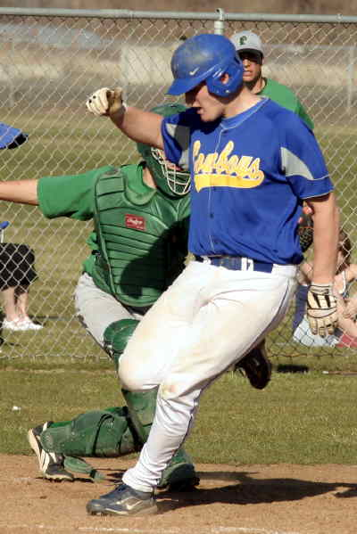 by: Lon Austin/CENTRAL OREGONIAN - Garrett Puckett hit a triple and then scored on a Pendleton throwing error in game two of the doubleheader.
