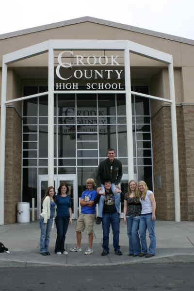 by: KEVIN GABOURY/CENTRAL OREGONIAN - Members of Crook County High School's 100th graduating class are preparing for all the activities related to the big event. Pictured here are (from left to right) Corinne Flanary, JoBeth Hamon, Paul Robideau, David Reeher, Tyler McCormick, Ashley Barnes, and Rachael Grier