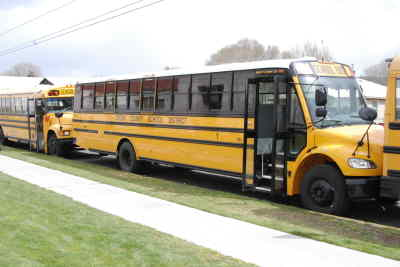 by: KATE WENNERSTROM/CENTRAL OREGONIAN - The Crook County School District recently purchased two new school buses which have a distinctive appearance.