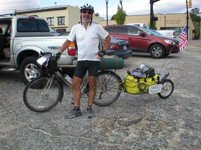 by: CONTRIBUTED PHOTO - David Jones began a 12,000-mile long bike ride last weekend to benefit the homeless. During the 10-month ride, he will collect donations on his website while providing frequent Twitter, Facebook, and YouTube updates.