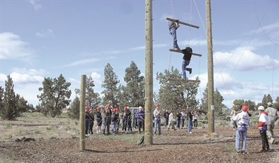 by: CONTRIBUTED PHOTO - The Crook County High School NJROTC unit participated in a ropes course last week, which is one of the many activities they are part of throughout the year.