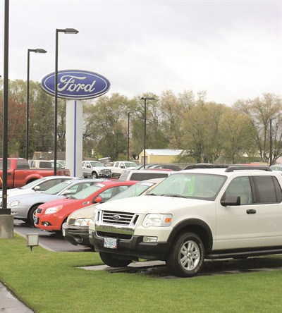by: JASON CHANEY/CENTRAL OREGONIAN - Vehicle sales for dealerships throughout Oregon, including Robberson Ford in Prineville, have improved considerably during the past year.