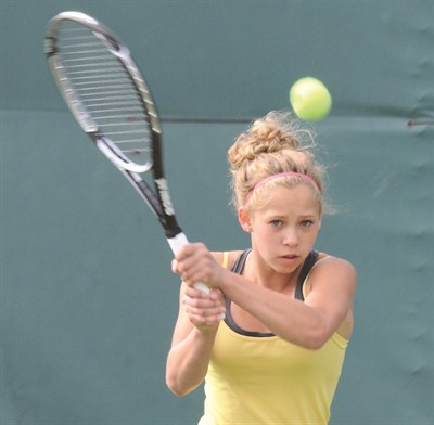 by: LON AUSTIN/CENTRAL OREGONIAN - Crook County High School No. 1 singles player, Elsa Harris, returns next year and is expected to challenge for the state championship.