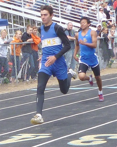 by: PHOTO COURTESY OF MATT FISCHER - Sam Santiago races to the finish line in the preliminaries of the 200-meter dash at the Oregon Middle School State Track and Field Championships. Santiago set school records in both the 100 and 200 at the meet.