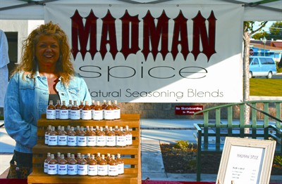 by: JASON CHANEY/CENTRAL OREGONIAN - Deb McCoy sells her Madmen Spice products at a variety of locations including the Prineville Farmers Market.