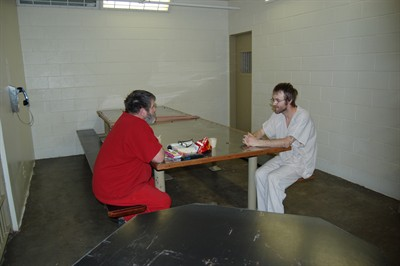 by: RAMONA MCCALLISTER/CENTRAL OREGONIAN - Inmates at the Crook County Jail spend some time in the day room on Thursday. The jail currently has a waiting list of 85, and through the month of August 2012, there have been 417 matrixed out of the system.