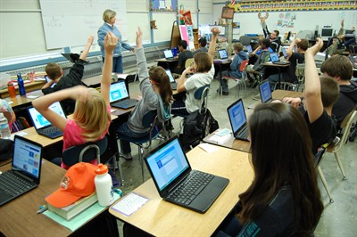 "by: RAMONA MCCALLISTER/CENTRAL OREGONIAN - Grace Deboodt's fifth grade class at Ochoco Elementary work on division ""flashcards"" using the school classroom set of Google Chrome laptops. The students have learned how to log into their accounts, and they are using a ""division flashcard"" application. They practice their grade level appropriate division facts using the technology, which Deboodt indicated is good way to engage and motivate students. Deboodt said she uses the Google applications for her math intervention class, her regular benchmark core curriculum math class, and to teach keyboarding and writing skills."
