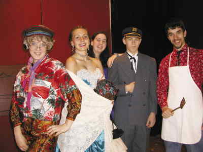 by: Photo By Susan Matheny - From left, Andrea Turner as Granny, Becky Leutwiler as Belle, Kortni Smith as the Colonel's wife, Jon Hagen as the Colonel, and Alex Fisher as Beauregard.