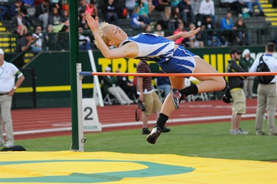 by: Photo By Lon Austin for the Pioneer - Madras High School senior Laura Sullivan competes in the girls high jump at the OSAA Class 4A state championship track and field meet May 25, held at the University of Oregon.