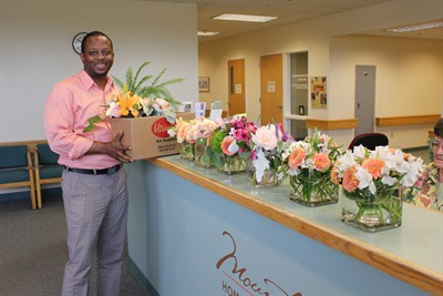 by: Submitted Photo  - Volunteer Vernon Roberson brings flowers from Bend to Mountain View Hospice in Madras every Wednesday.