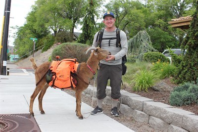 by: Photo By Susan Matheny - Steve Wescott is walking across America with his goat