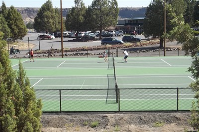 by: Photo by John Bowler - The newly reconstructed tennis courts at Crooked River Ranch are already busy.