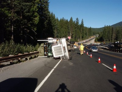 by: OSP Photo  - A hay truck spilled its load on U.S. Highway 26, tying up Labor Day traffic.