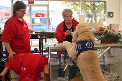 by: Photo by Holly M. Gill - Store manager Lisa Stearns, left, and her mother Trish Jorgenson, who serves on the Heart of Oregon Corps Board of Directors, take a break from sorting and organizing merchandise in the store on Monday, to visit with Riley, their poodle and service dog. The hospital is selling the building and business, which should reopen in November.