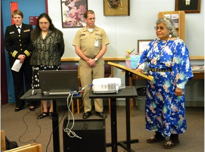 "by: Submitted photo - Tribal elder Lucinda Green, at right, blesses the Child Abuse Intervention Center that opened in Warm Springs on Monday. The center is named ""Snwiyaila Miyanashna,"" which means ""Talking for the Children."""