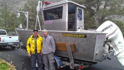 by: Submitted photo - Searchers Gene Ralston, left, and Chuck Atwood were among the group that located Gene Harris' body on Nov. 16, at a depth of about 115 feet in Lake Billy Chinook.