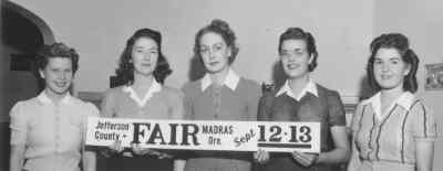 by: Fairgrounds Photo  - Fair retinue for the 1944 fair, from left, Evelyn Kelley, Lorraine Long, Eva Lafferty, Queen Marcella Zemke adn Lolita Freeman.