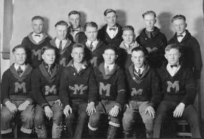 by: Photo from Jefferson County Museum - The 1922-23 MUHS Lettermen Club. Top row, left, Chuck U'Ren, George Sothman, David Faulkenhagen, Wendell Gray, Paul Larsen. Middle, Wayne Mason, Houston Hannon,  Wallace Hannon. Front, Gus Ramsey, Charles Daly, Cecil Moore, Francis McTaggart, Randall Black, Eugene Cook.