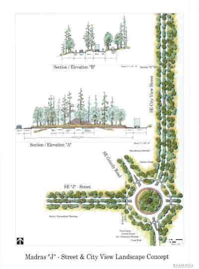 by: Walker Macy illustration - Artist's conception of roundabout to be built where J Street extension meets Grizzly Road.