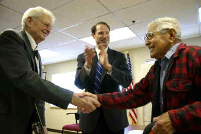 by: Photo By Holly M. Gill - U.S. Sen. Ron Wyden presented World War II medals to Harry