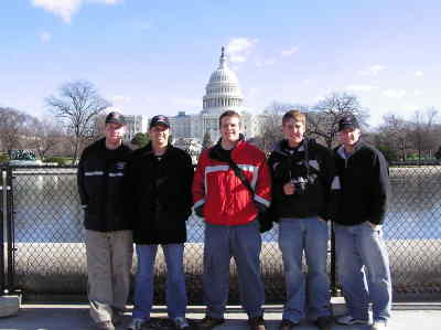 by: Submitted Photo - The firefighter  interns in Washington , D.C., from left, Lance Roberts, Josh Hiskey, Randy Watkins, Jason Kish, Tyler Hordichok.