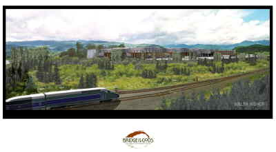 by: Casino illustration - Artist's rendering of the proposed Bridge of the Gods Casino at Cascade Locks.
