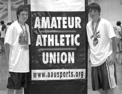 by: Submitted Photo - Nick Brown, left, and Josh Roth both made Oregon basketball all-star teams for their age group.