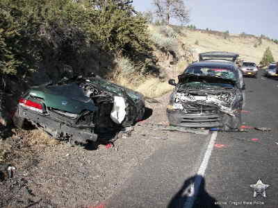 by: Submitted photo - OSP Photo A Madras man was killed in this  two-car crash on U.S. Highway 26 in Warm Springs. The highway was closed for five hours and traffic was detoured.