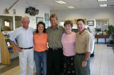 by: Photo By Tony Ahern - Ron McDonald Chevrolet, Buick, Pontiac of Madras has been purchased by Gary Gruner, center, and his wife, Tina, second from left. The Gruners purchased the dealership from Denny Story, left, Joe McDonald, right, and Scott Adkisson (not pictured), taking ownership as of Oct. 1. Also pictured is Joan McDonald.
