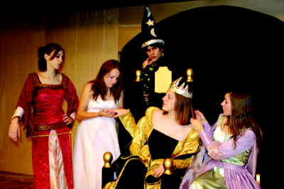 by: Photo By Susan Matheny - The Queen and her court, from left, lady in waiting Jessica Pedersen,  Hali Adams as Lady Larkin, Wizard Adam McCary, Queen Jonica Buck, and lady in waiting Megan Brown.