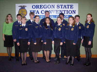 by: Submitted Photo - Madras FFA members attending the convention were, from left, Advisor Brook Rice, Kyle Riedinger, Stephanie Stovall, Kody Abandschein, Rachel Woods, Caleb Cole, Karina Romero, Tiana Avila, Fred Romero, Megan Nichols, Justin Osborn, Nichole Stewart.