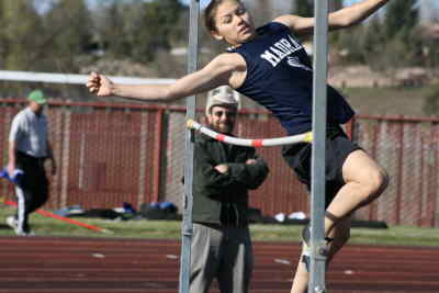 by: Photo By Gary Lindberg - Back from a leg injury, Briana Stacona helped the Madras girls win teh La Pine Invite title. She won three events including clearing 5 feet, 2 inches in the high jump.